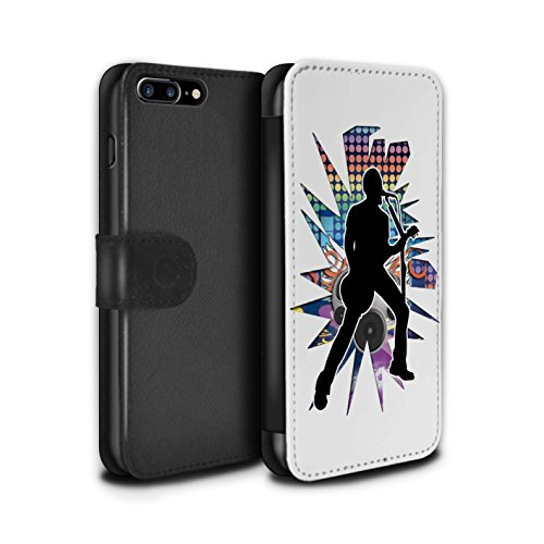 Stuff4 Coque/Etui/Housse Cuir PU Case/Cover pour Apple iPhone 7 Plus / étendre Noir Design / Rock Star Pose Collection Chanteur Blanc