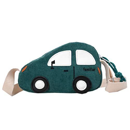 Dorical Kinderrucksack Kinder Klein Umhängetasche,süßes Auto Styling Trolley Kuriertasche Umhängetasche Geldbörse, Kindertasche für Mädchen Schultertasche,Ausverkauf(Grün)