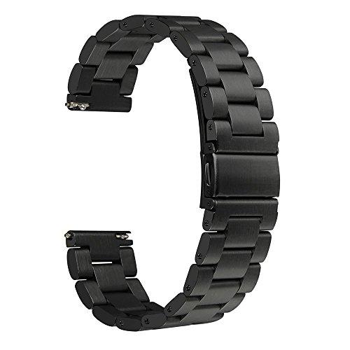 BlueBeach® 22mm Edelstahl Ersatz Armband Band für Pebble Time / Moto 360 2nd Gen / Samsung Gear 2 / LG G Watch / G Watch R / Urbane / Asus ZenWatch / Vivowatch (Schwarz) (Samsung Armband Lg)