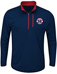 """Washington Wizards Majestic NBA Men's """"Exclamation"""" 1/2 Zip Pullover Wind Shirt Chemise"""