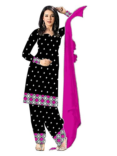 Galaxy Women's Black & Pink Pure Cotton Patiala Suits (Pink_122)