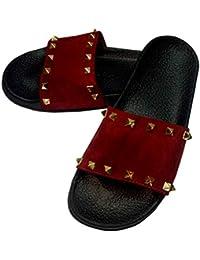 75a375240d3f ZenkiDFashion Black Colour Womens Girls Stud Slipper Daily Use Slipper Flip  Flop