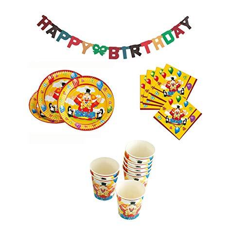 own - Partyset: Teller, Servietten, Trinkbecher mit Girlande/ Zirkus - Geburtstag Becher /Kindergeburtstag / Partybecher - Zirkusclown Zirkustiere ()