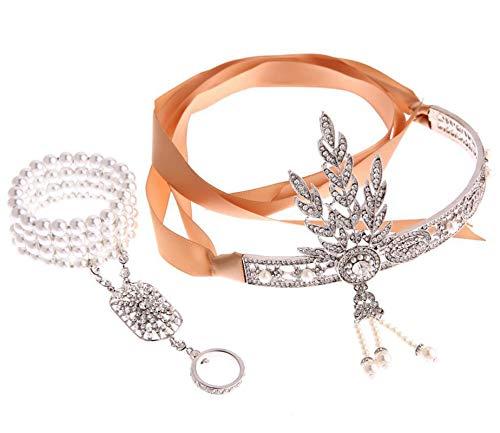 Epinki Damen 1920er Jahre Zubehör Set 2 Pcs Flapper Kostüm Zirkonia Perle Blatt Stirnband/Perlenarmband Ringe 20er Jahre Halloween Kostümzubehör Weiß