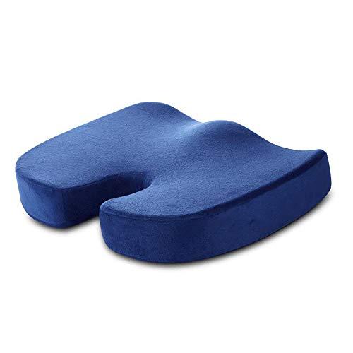 SXTYRL orthopädisches sitzkissen, Steißbein sitzkissen Chronische Rebound-Bambuskohle mit Memory-Baumwolle für Bürostuhl, Autositz, Lehnstuhl,Rollstuhl-Dunkel blau(18 * 14 * 3 in)