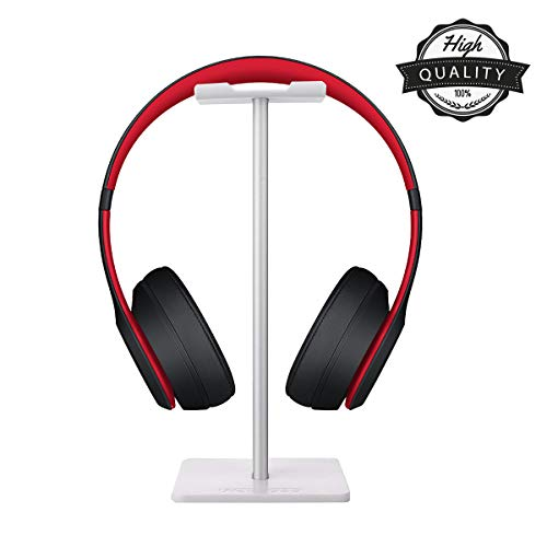 Yoelike Kopfhörerständer mit Aluminium-Stützstange Flexible Kopfstütze ABS Solide Basis, Kopfhörer mit Displayständer für Xbox One Playstation Wireless Stereo Headset & mehr (Weiß)