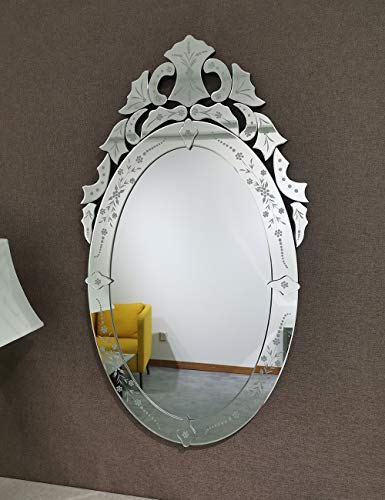 Mission Möbel Muster (KOHROS Traditioneller Wandspiegel, oval, Venezianischer Stil, Antik-Silber)