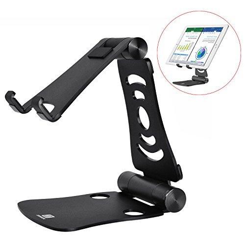 KZKR Faltbar Tablet Ständer Multi-Winkel einstellbar Handy Halter für iPad Air 2 3 4 Pro Mini,iPhone,MacBook Schwarz