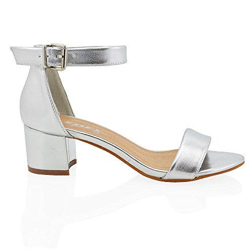 Essex glam sandalo donna argento metallico tacco basso eu 36
