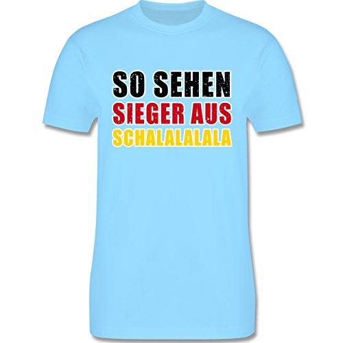 EM 2016 - Frankreich - So sehen Sieger aus! Schalalalala Deutschland - Herren Premium T-Shirt Hellblau
