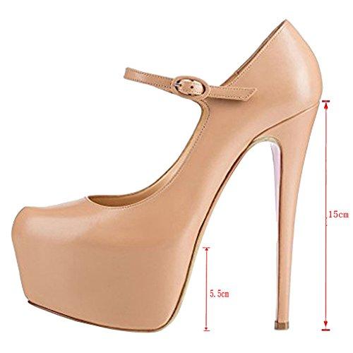 EKS Damen Ankle Strap Platform High Heels Schuhe Kleid Pumps EU 35-46 Nackt-matt
