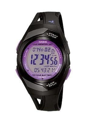 Casio Phys - Reloj digital de mujer de cuarzo sumergible a 50 metros con correa de resina negra (luz, alarma, cronómetro)