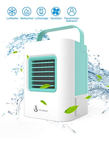 Luftkühler Mini Klimaanlage Ventilator Air Cooler mit Luftreiniger Befeuchter Wasserkühlung, Mini Klimagerät ohne Abluftschlauch für Büro, zu Hause, Camping usw. (Grün)