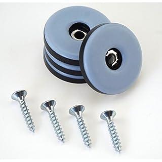 16 Stück Teflon-Möbelgleiter rund Ø 30 mm – 5 mm dick inkl. Schraube 3,5 mm x 20 mm/PTFE-Beschichtung/Teflongleiter / Möbelgleiter/Stuhlgleiter