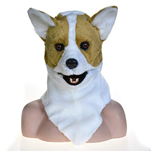 XIANCHUAN Total Head Creature Moving Mouth Cosplay Karnevalskostüm Hundebleiche Tiermasken Zum Verkauf Gruselige Maske für Halloween Behaart Atmungsaktiv Lustig (Color : Yellow, Size : 25 * 25)