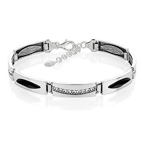LillyMarie Damen Armband Sterlingsilber Onyx Swarovski Elements schwarz längen-verstellbar hochwertige