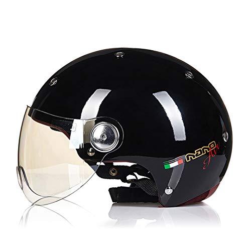 Mt&cheytn casco moto uomo donna capacetes retro vintage biker scooter half face casco casco moto casco moto visiera b-103 lblack glod m