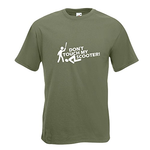 KIWISTAR - Dont touch Scooter Design 2 T-Shirt in 15 verschiedenen Farben - Herren Funshirt bedruckt Design Sprüche Spruch Motive Oberteil Baumwolle Print Größe S M L XL XXL Olive