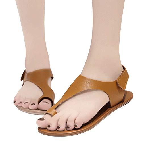 GCDN Sommer Strand Sandalen einfarbig flachfuß korrektur Clip auf Hausschuhe Schuhe weiblich flip Flop Mode elegant täglich bequem tragen pu Leder Schuhe(35,Khaki) -