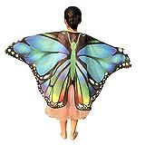 Rosennie Damen Butterfly Wings Shawl Schals Poncho Kostüm Accessoire Kinder Flügel Schal Frauen Print Nymphe Pixie Kostüm Zubehör Deutscher Karneval Kimono Flügel Schal für Show/Daily