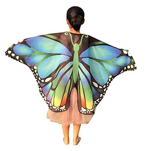 Kittel Übergröße Kostüm - Schmetterling Kostüm Mädchen Piebo Kinder Jungen Karneval Kostüm Faschingskostüme Butterfly Wing Cape Kimono Flügel Schmetterlingsflügel Schal Fee Nymph Pixie Kostüm Zubehör für Cosplay