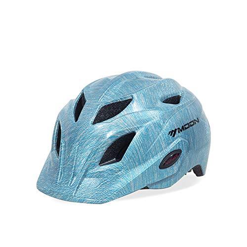 BLife Kinderhelm,Verstellbarer Fahrradhelm mit Sicherheitswarnlicht/Rollschuh-/Rollerhelm für Jungen/Mädchen S[48-52cm] M[53-58cm],blue2,M