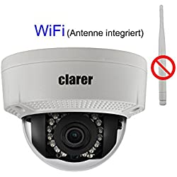 Clarer D200-SW Full HD IP Dome Kamera / 2MP / Überwachungs-Netzwerkkamera / Indoor & Outdoor / WLAN & LAN / PoE (Power over Ethernet) / Bewegungserkennung, Aufnahme / Digitales WDR / SD-Kartenslot für bis zu 128 GB / IP67 Schutzklasse (Wetterschutz)