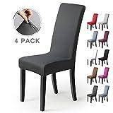 Fundas para sillas Pack de 4 Fundas sillas Comedor Fundas elásticas, Cubiertas para sillas,bielástico Extraíble Funda, Muy fácil de Limpiar, Duradera (Paquete de 4, Gris Oscuro)