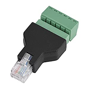 VBESTLIFE Ethernet RJ12 6P6C Stecker auf 6 Pin Schraubklemmen Adapter Stecker,1 Stück