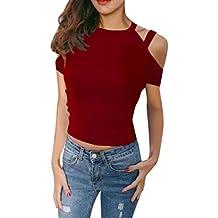 Color sólido Camiseta de Mujer,Honestyi Blusa de Hombro sin Tirantes Casual T-Shirt