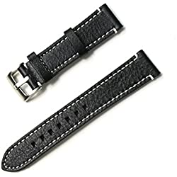 Silvercell Men's Genuine Leather Watch Strap Band with Stainless Steel Watch Buckle Black 20mm
