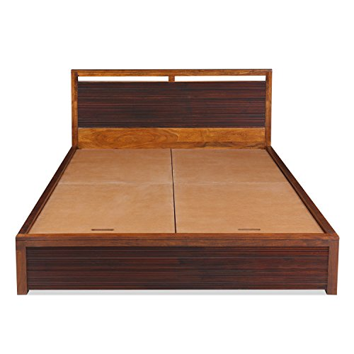 @home by Nilkamal Tiara QB Queen Size Bed with Storage (Polished Finish, Brown)