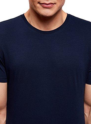oodji Ultra Herren Tagless T-Shirt Basic Aus Baumwolle Blau (7900N)