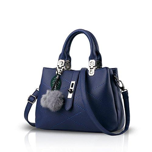 Femme Sac à Main Bandoulière Sac Messenger Carré en Cuir PU Sac Fourre-tout (Bleu)