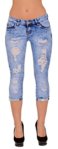 by-tex Damen Capri Jeans Hose Damen Caprihose mit Risse Jeanshose bis Übergröße 50 # J324