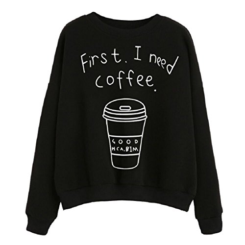 "Vovotrade ❤❤Hot!!! Women long Sleeve Blouse ""First I Need Coffee"" Letter Print Sweatshirt Pullovers (EU Size:40(XL), Schwarz)"