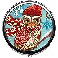 LinJxLee owl Christmas Round Pill Case Pill Box Tablet Vitamin Organizer Easy to Carry preisvergleich bei billige-tabletten.eu