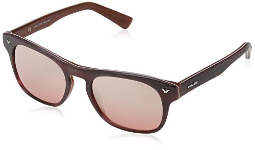 Police S1952 Master 2 Wayfarer Sonnenbrille, MATT BURGUNDY WOOD EFFECT & DARK ORANGE  FRAME / LIGHT RED / SILVER MIRROR LENS