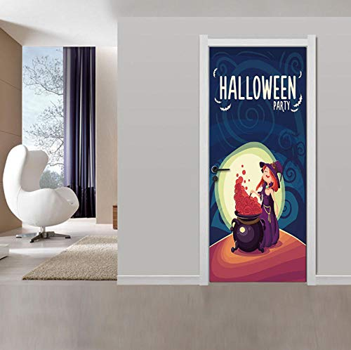 LRJDETWitch Poison New 3D Horror Tür Aufkleber Abnehmbare Halloween Party Dekoration Wohnzimmer Dekor DIY Festival Poster77x200cm