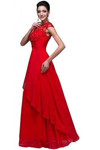 Sunvary Paletta Chiffon Ruffle: Bridesmaid Pageant abiti da donna Red