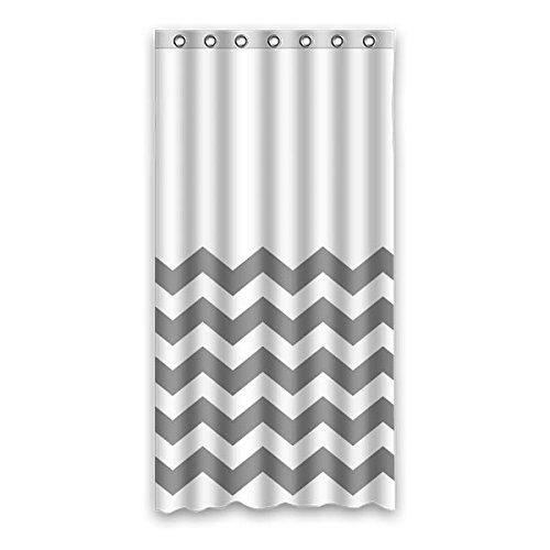 Einfach grau Klassik Welle Streifen Muster Design 100% Polyester Fabrics wasserabweisend Generic Duschvorhänge 90 cm x183 cm (36