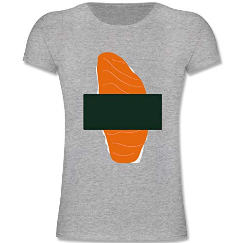 Karneval & Fasching Kinder - Sushi Kostüm - 164 (14-15 Jahre) - Grau meliert - F131K - Mädchen Kinder T-Shirt (Sushi Kostüm Kinder)