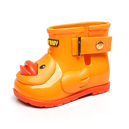 BaojunHT Animals Cartoon 3D Duck Kids Wellies Durable Sole Childrens Wellington Boots Buckle Toddler Rain Shoes for School Walking Outdoors