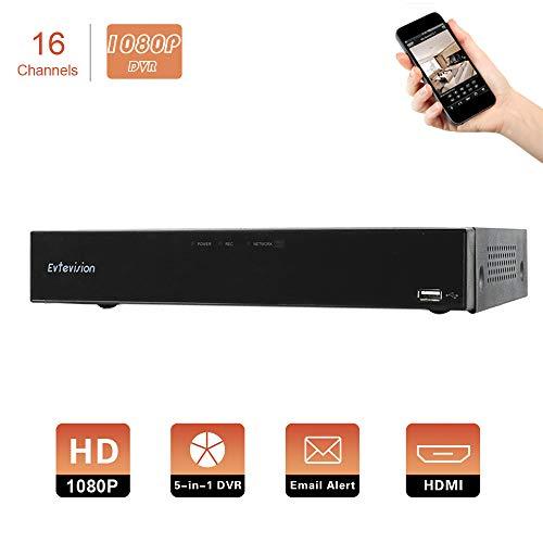 Evtevision 16CH 1080P H.264 Digitaler Videorecorder 5 in 1 AHD/TVI/CVI/960H DVR HVR Onvif NVR Echtzeit CCTV Security DVR mit HDMI, P2P Wolke, E-Mail Warnung, Ferner Smartphone Zugang (NO HDD)