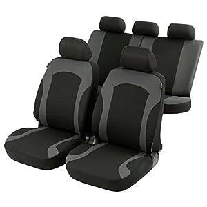 Walser 11786 Zipp IT Premium Inde Auto Sitzbezüge für Vordersitze mit Reissverschluss System, Schonbezüge, Sitzbezüge in schwarz-grau
