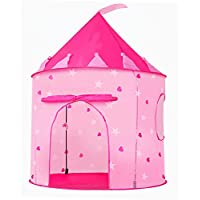 Portable Foldable Play Tent Prince Folding Pink Tent Kids Children Boy Castle Cubby Play House Kids Gifts Outdoor Toy Tents (Pink)