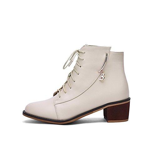 AllhqFashion Damen Reißverschluss Rund Zehe Niedrig-Spitze Stiefel mit Anhänger Cremefarben