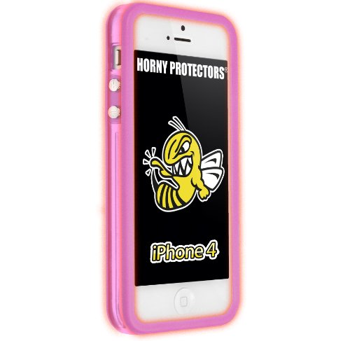 Horny Protectors Bumper für Apple iPhone 4 rosa/weiß mit Metallbutton leuchtend rosa/transparent rosa