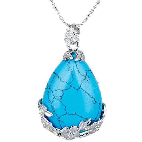 KYEYGWO Stein Anhänger für Damen, Versilbert Floral Tropfen Form Reiki Heilung Kristall Anhänger Halskette für Herren, Blauer Howlith Türkis