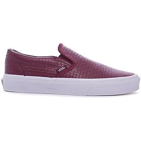 Zapatillas Vans – Classic Slip-On (Emboss Check) Rojo Granate/Blanco 37
